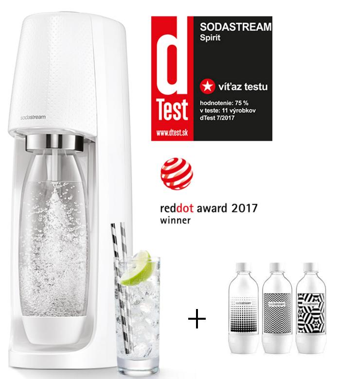 SODASTREAM SPIRIT White + fľaše TRIPACK WHITE 3ks
